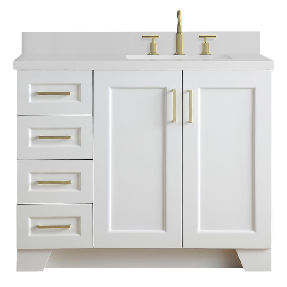 Ariel Taylor 43 in. W x 22 in. D Bath Vanity in White with Quartz Vanity Top in White with Right Offset White Rectangle Basin