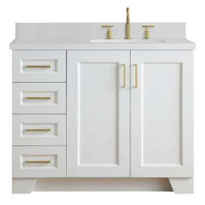 Taylor 43 in. W x 22 in. D Bath Vanity in White with Quartz Vanity Top in White with Right Offset White Rectangle Basin