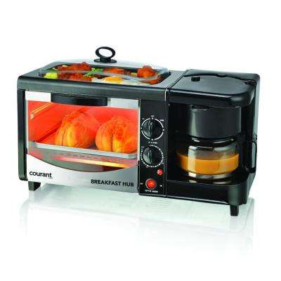 3 in 1 Breakfast Center Black Toaster Oven