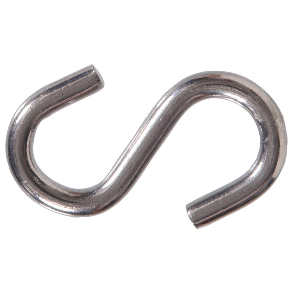 0.177 in. x 1-1/2 in. Stainless Steel S-Hook (25-Pack)