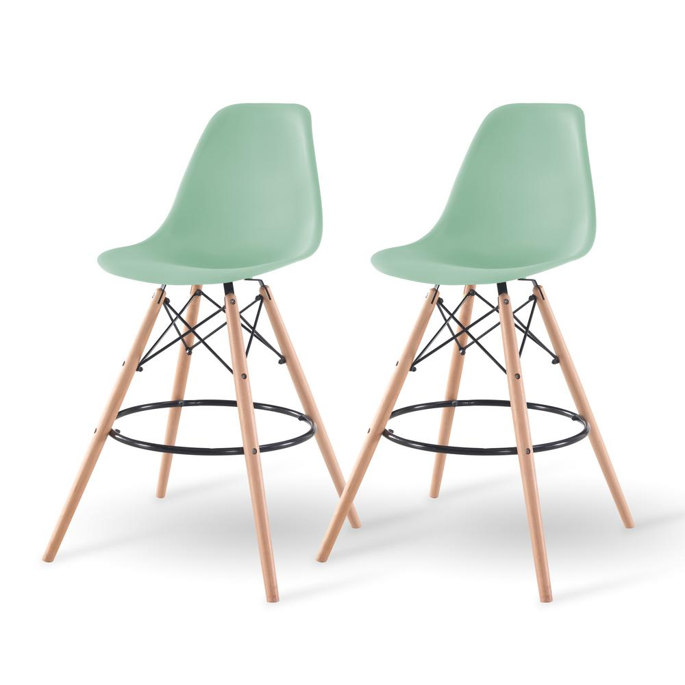 Light green bar stool set of 2