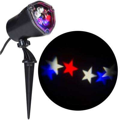 11.81 in. 1-Light Projection-Whirl-a-Motion-Stars (RWWB) Light Stake