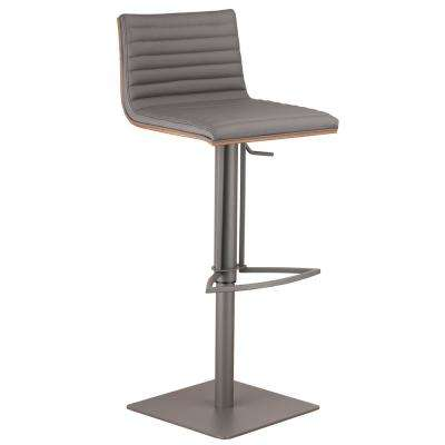 Cafe 31-41 in. Gray Faux Leather with Gray Metal Finish Finish and Walnut Veneer Back Adjustable Swivel Barstool