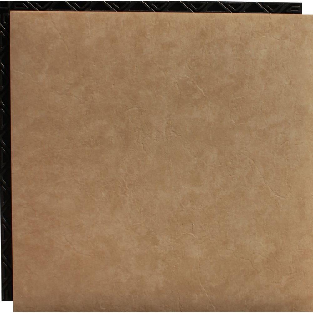 Place N' Go Beige 18.5 in. x 18.5 in. Interlocking Waterproof Vinyl Tile with Built-In Underlaymnet-DISCONTINUED
