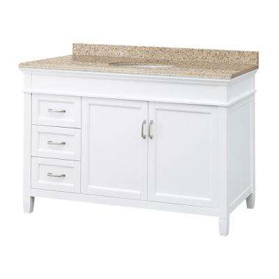 Ashburn 49 in. W x 22 in. D Vanity in White with Granite Vanity Top in Beige with White Sink