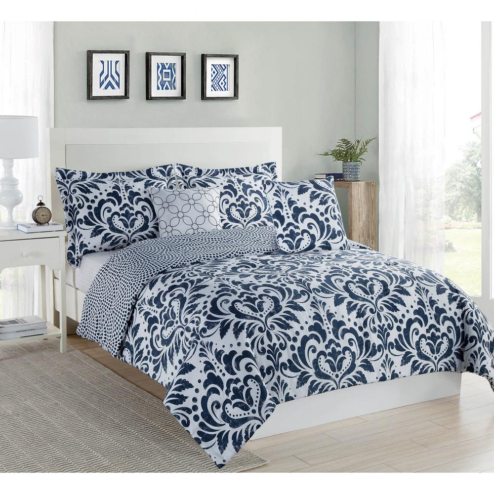Studio 17 Anson Damask Navy White 5 Piece Full Queen