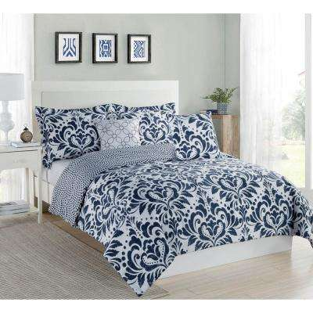 Studio 17 Anson Damask Navy/White 5-Piece Full/Queen Comforter Set