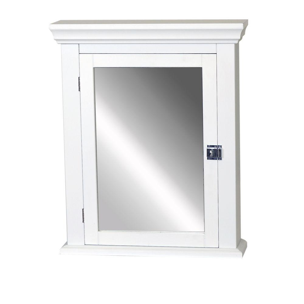 Early American 22 1 4 In W X 27 H 5 7 8 D Framed Surface Mount Bathroom Medicine Cabinet White