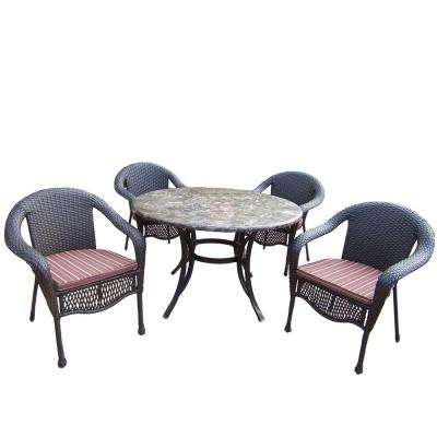Stone Art 5-Piece Patio Dining Set with Stripe Cushions
