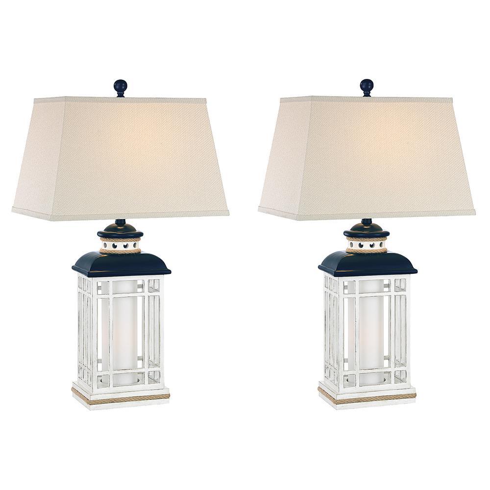 30.5 in. Navy Blue Indoor Table Lamp Set