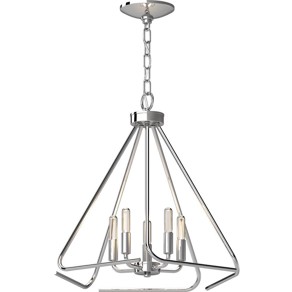 Augusta 5-Light Polished Nickel Indoor Mini Hanging Chandelier