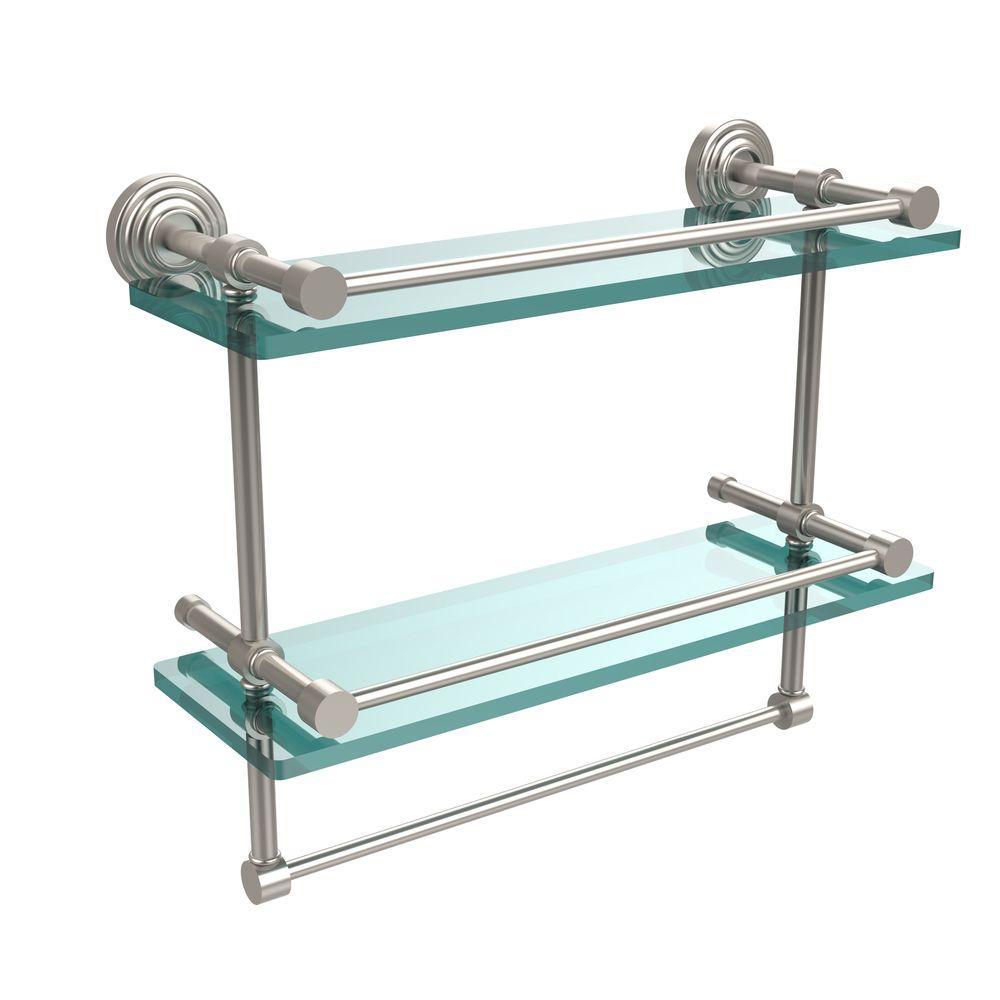 16 in. L  x 12 in. H  x 5 in. W 2-Tier Gallery Clear Glass Bathroom Shelf with Towel Bar in Satin Nickel