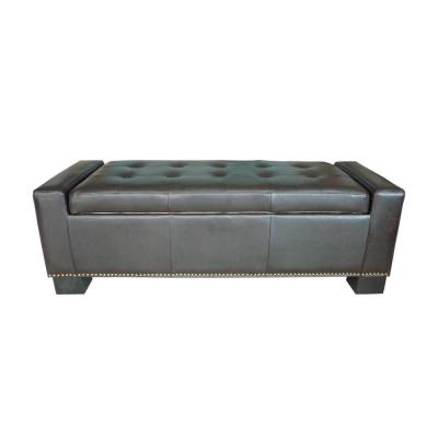 Explorer Tufted Brown Leather Storage Bench with Studs