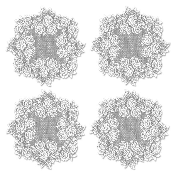 Heritage Lace Tea Rose 15 in. White Round Doily (Set of