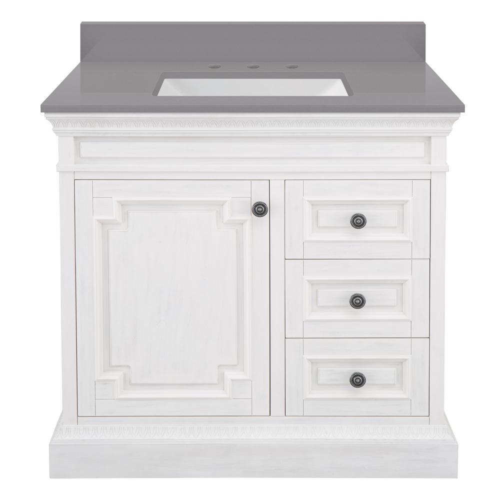 Home Decorators Collection Cailla 37 in. W x 22 in. D Bath Vanity in White Wash with Engineered Marble Vanity Top in Slate Grey with White Sink