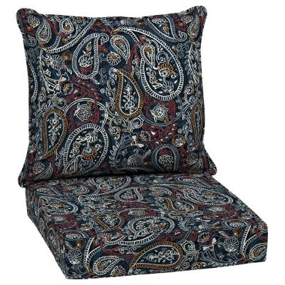 24 in. x 22.5 in. Palmira Paisley Outdoor 2-Piece Deep Seating Lounge Chair Cushion