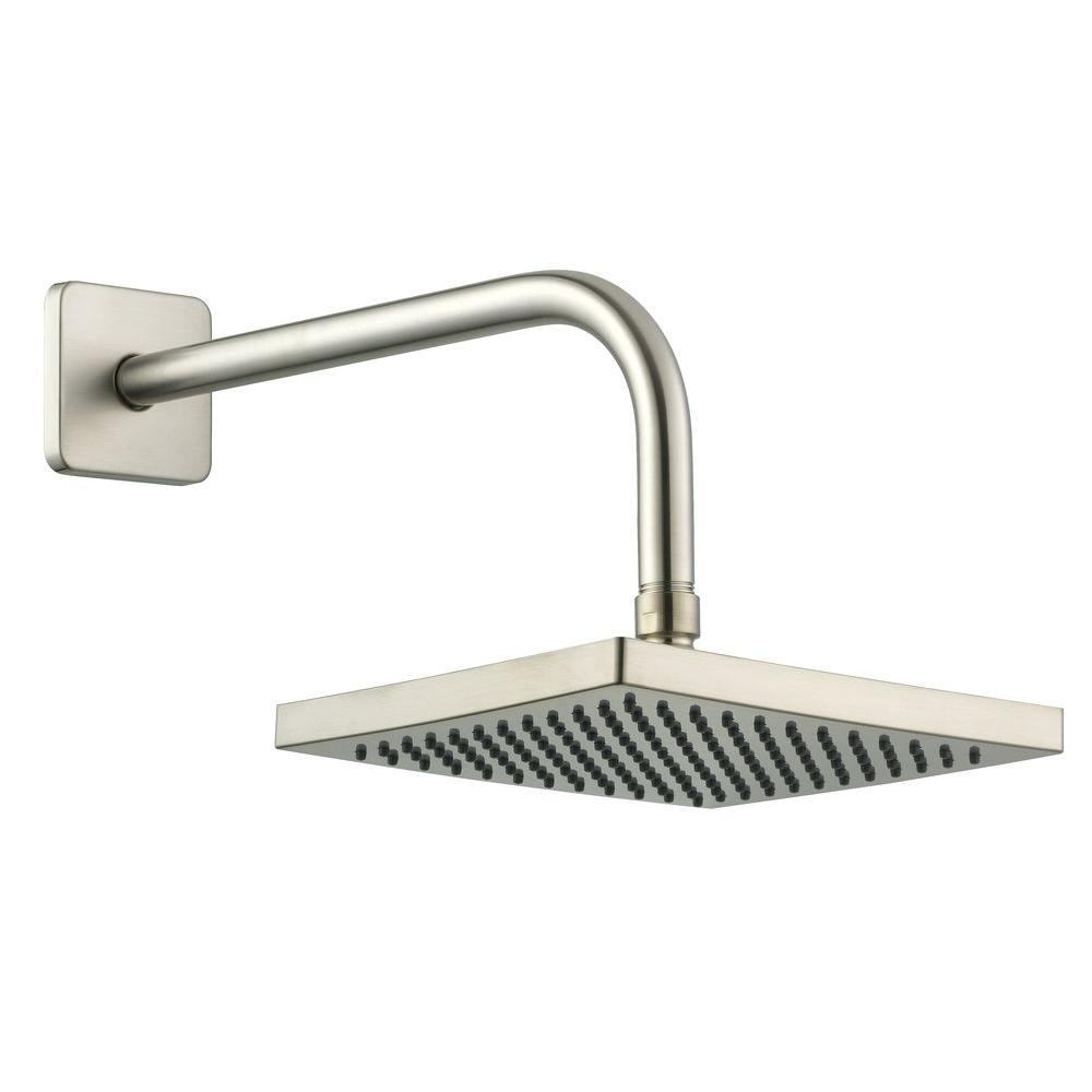 Glacier Bay 1-Spray 8 in. Square Showerhead with 12 in. Stainless ...