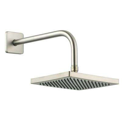 1-Spray 8 in. Square Showerhead with 12 in. Stainless Steel Arm and Flange in Brushed Nickel