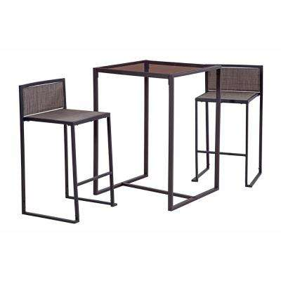Black 3-Piece Metal Drake High Dining Set