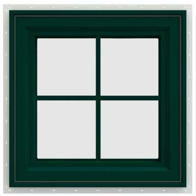 23.5 in. x 23.5 in. V-4500 Series Right-Hand Casement Vinyl Window with Grids - Green