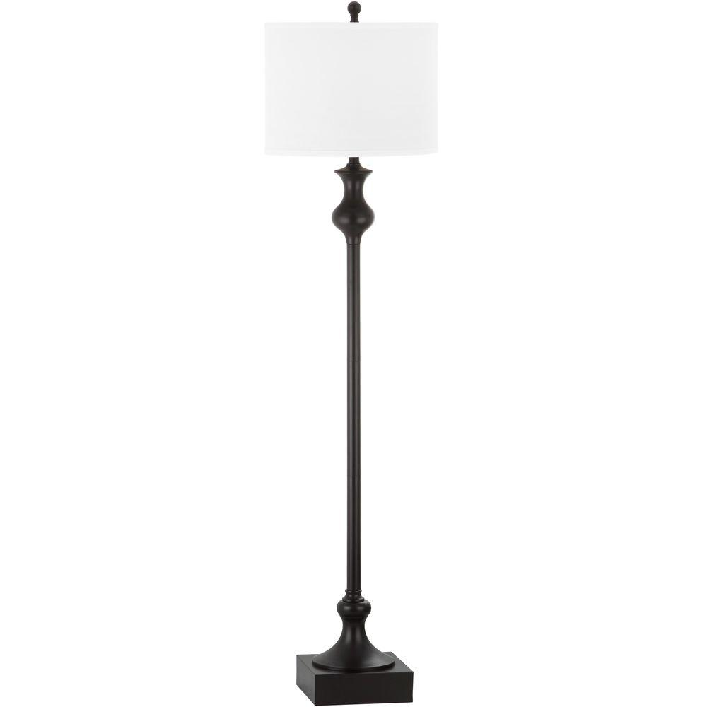 Safavieh Brewster 61.5 in. Oil-Rubbed Bronze Floor Lamp with White ...