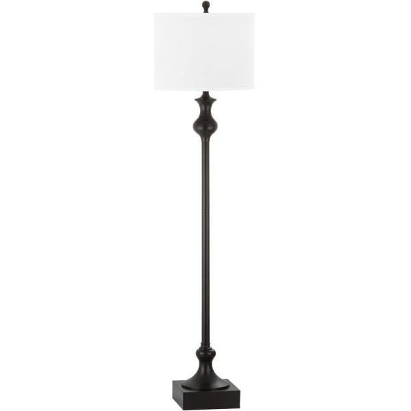 Brewster 61.5 in. Oil-Rubbed Bronze Floor Lamp with Off-White Shade