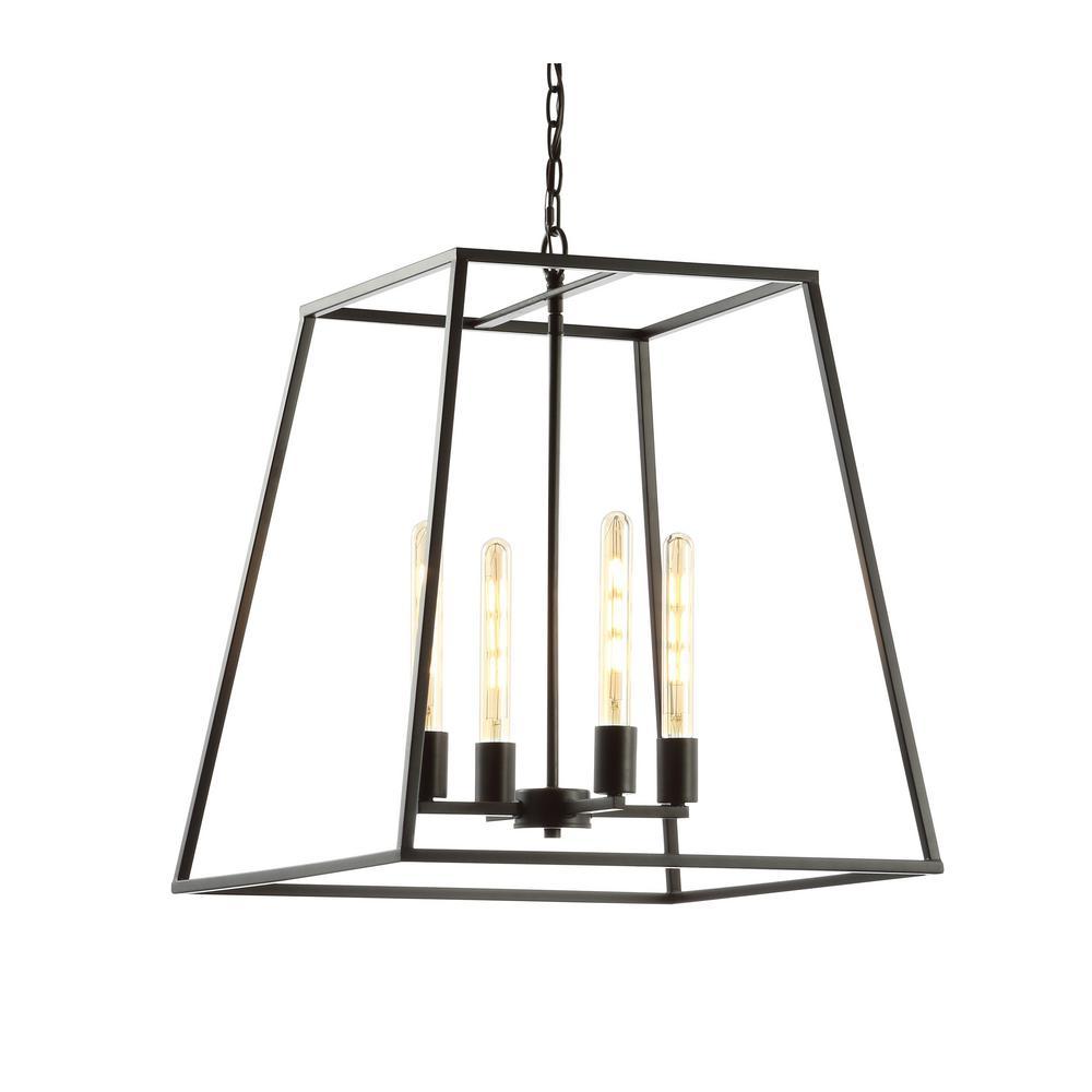 Hutson 4-Light 21 in. Iron Modern Angled LED Pendant, Black