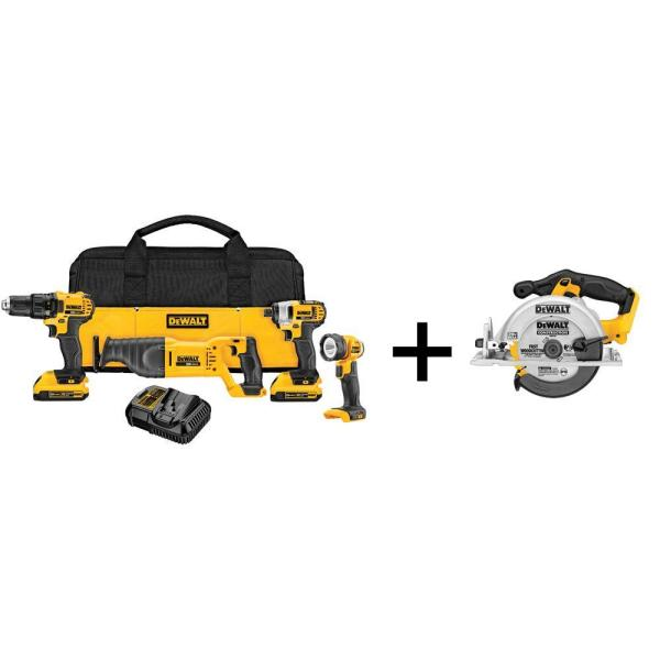 DEWALT 20-Volt MAX Lithium-Ion Cordless Combo Kit (4-Tool) with (2) Batteries 2Ah, Charger and Free 6-1/2 in. Circular Saw