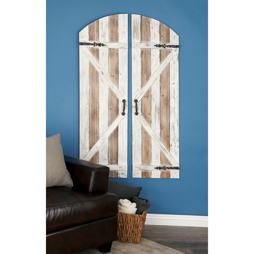 Wood Brown And White Patina Slat Type Door Inspired Wall Plaques Set Of 2 84244 The Home Depot