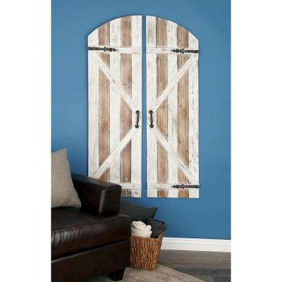 Wood Brown and White Patina Slat-Type Door-Inspired Wall Plaques (Set of 2)