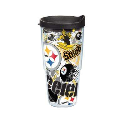 NFL Pittsburgh Steelers All Over 24 oz. Double Walled Insulated Tumbler with Travel Lid