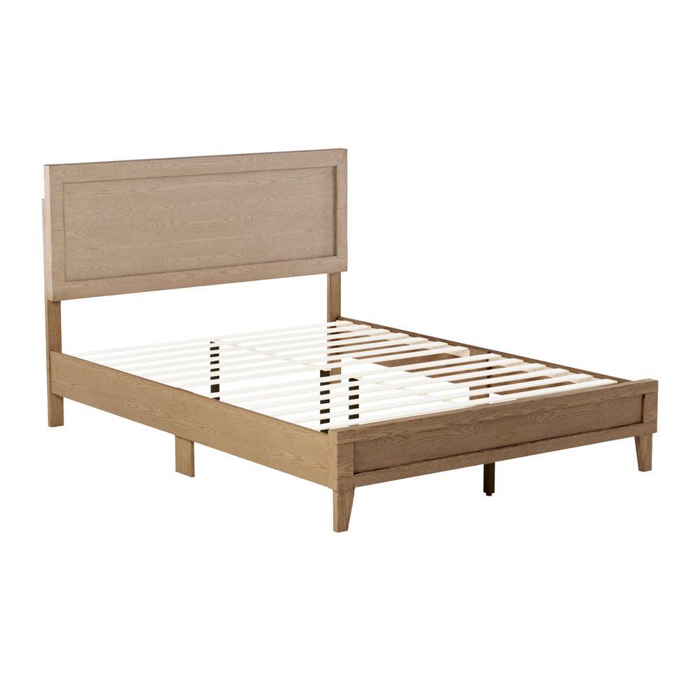Leah Classic Wood Platform Bed - King - Golden Maple