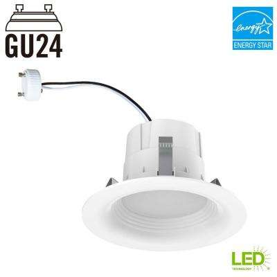 65-Watt Equivalent Daylight 4 in. GU24 White Integrated LED Recessed Trim