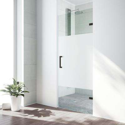 SoHo 28 to 28.5 in. x 70.625 in. Adjustable Frameless Hinged Shower Door in Antique Rubbed Bronze with Privacy Glass