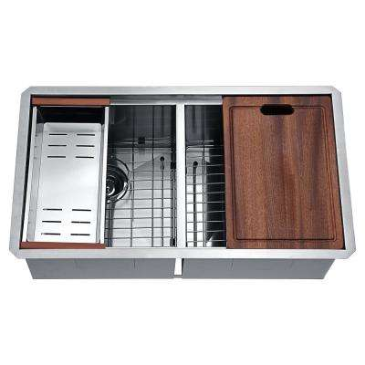 Aegis Undermount Stainless Steel 32.75 in. 0-Hole 50/50 Double Bowl Kitchen Sink with Cutting Board and Colander