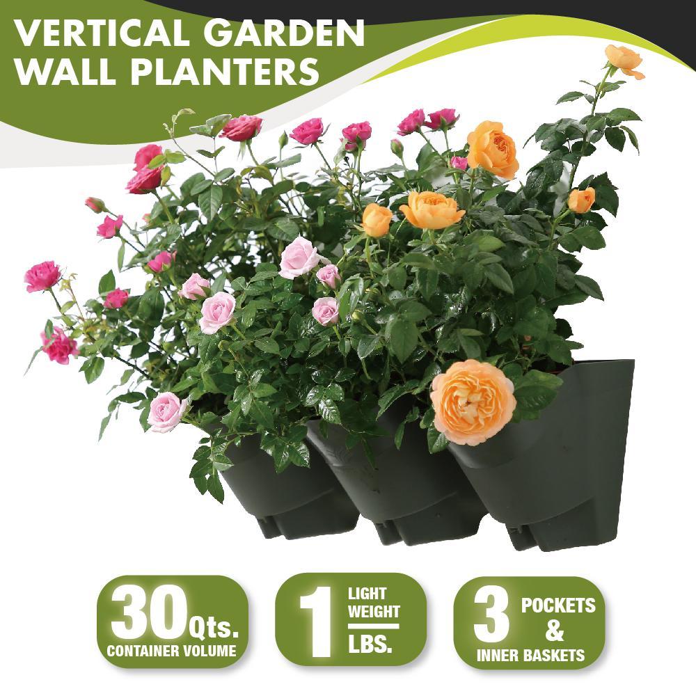 18 in. Self-Watering 3 Pockets Vertical Wall Garden Plastic Planters