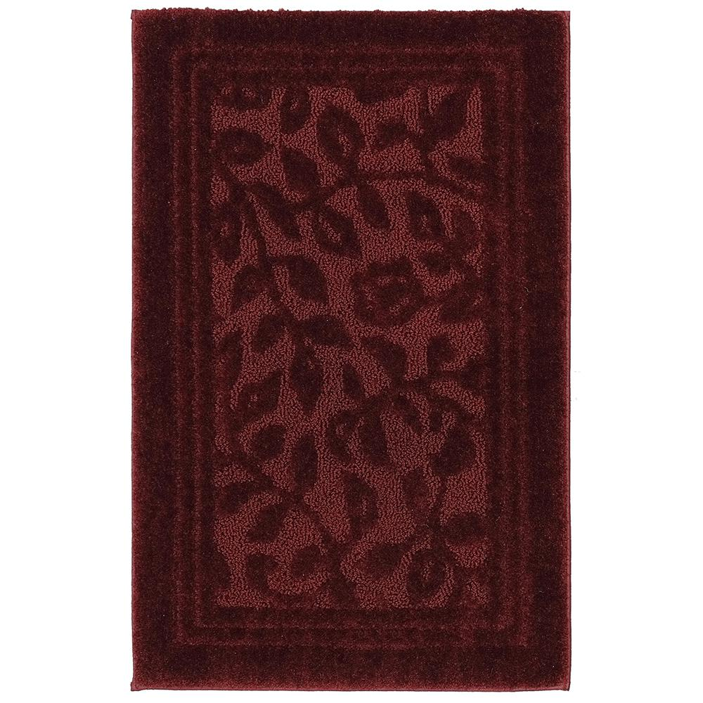 Wellington 30 in. x 50 in. Nylon Bath Rug in Claret