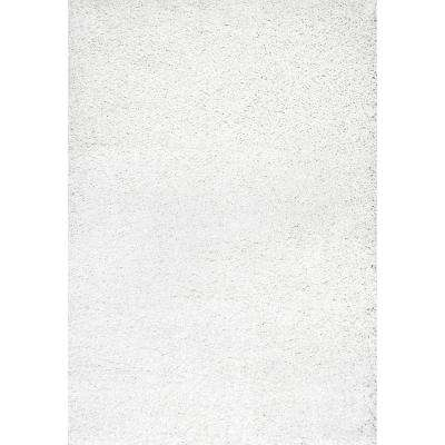 Luxe Solid Plush Shag White 11 Ft X 14 Ft Area Rug