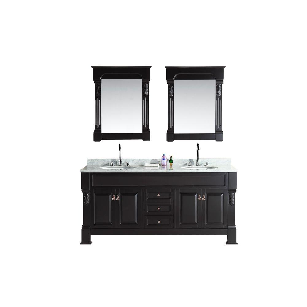 Double Vanity Espresso Marble Vanity Top Mirror White