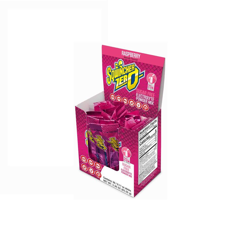 Sqwincher Zero Sugar Qwik Stik Single Serve 0.11 oz. Raspberry Electrolyte Drink Mix Powder (120-Stiks per Case)