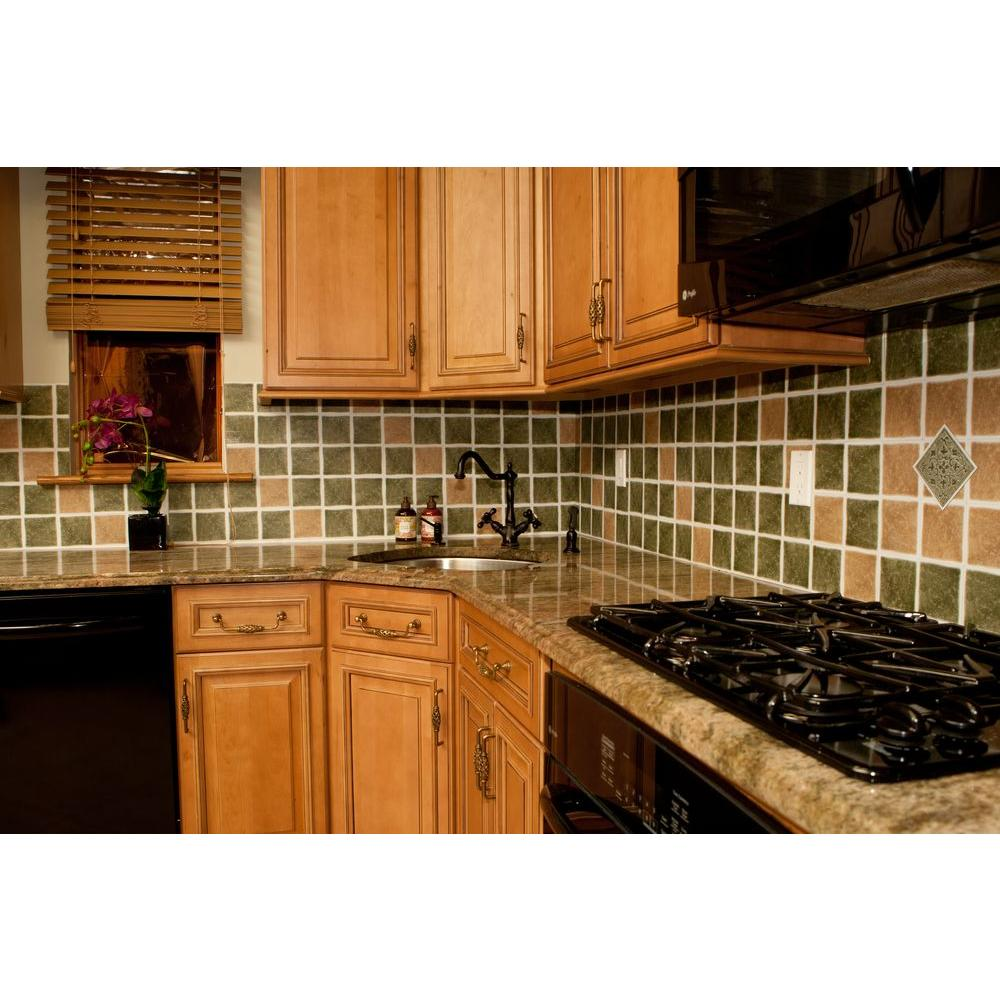 Vinyl 4 In X 4 In Self Sticking Motif Wall Decorative Wall Tile In Sandstone Accent 27 Tiles Per Box