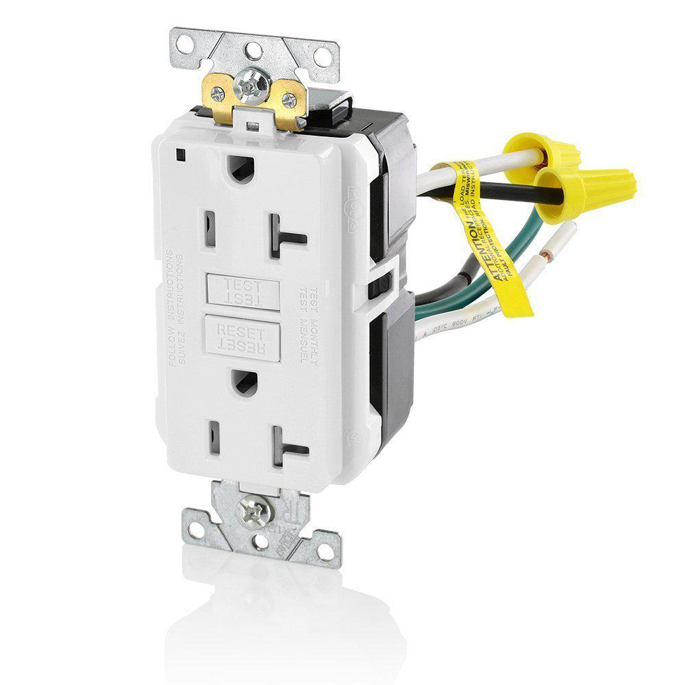 Leviton 20 Amp SmartlockPro Industrial Grade Heavy Duty Tamper Resistant GFCI Outlet with Leads, White