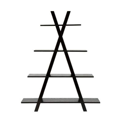 59 in. Black Wood 4-shelf Ladder Bookcase with Open Back