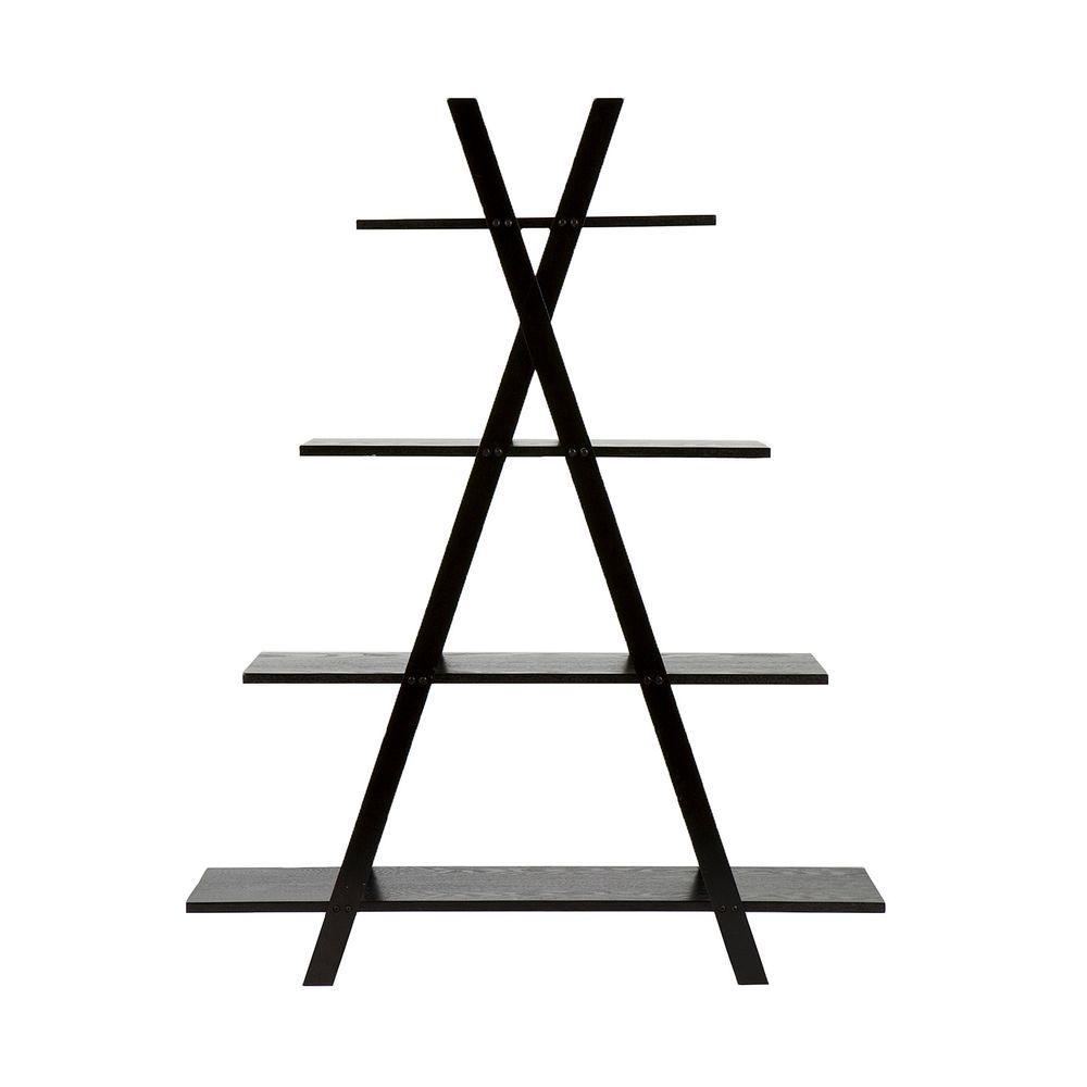 4-Shelf Black Etagere Bookcase