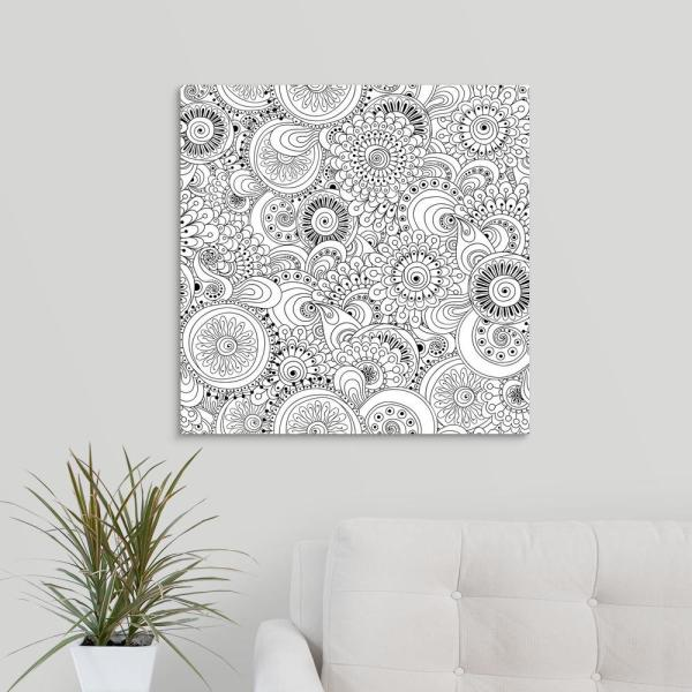 GreatBigCanvas ''Flowers and Circles I'' by Julia Snegireva Canvas Wall Art