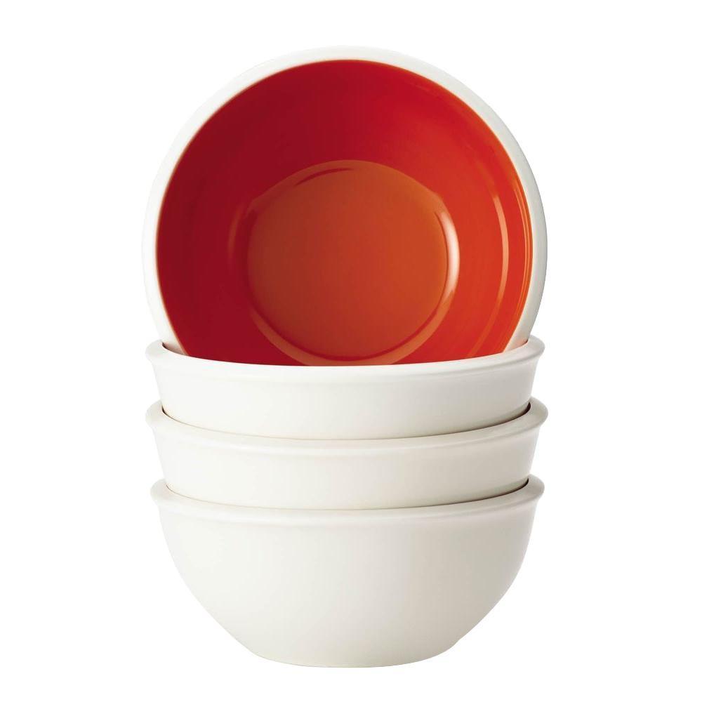 Rachael Ray Dinnerware Rise 4-Piece Stoneware Cereal Bowl Set in Orange