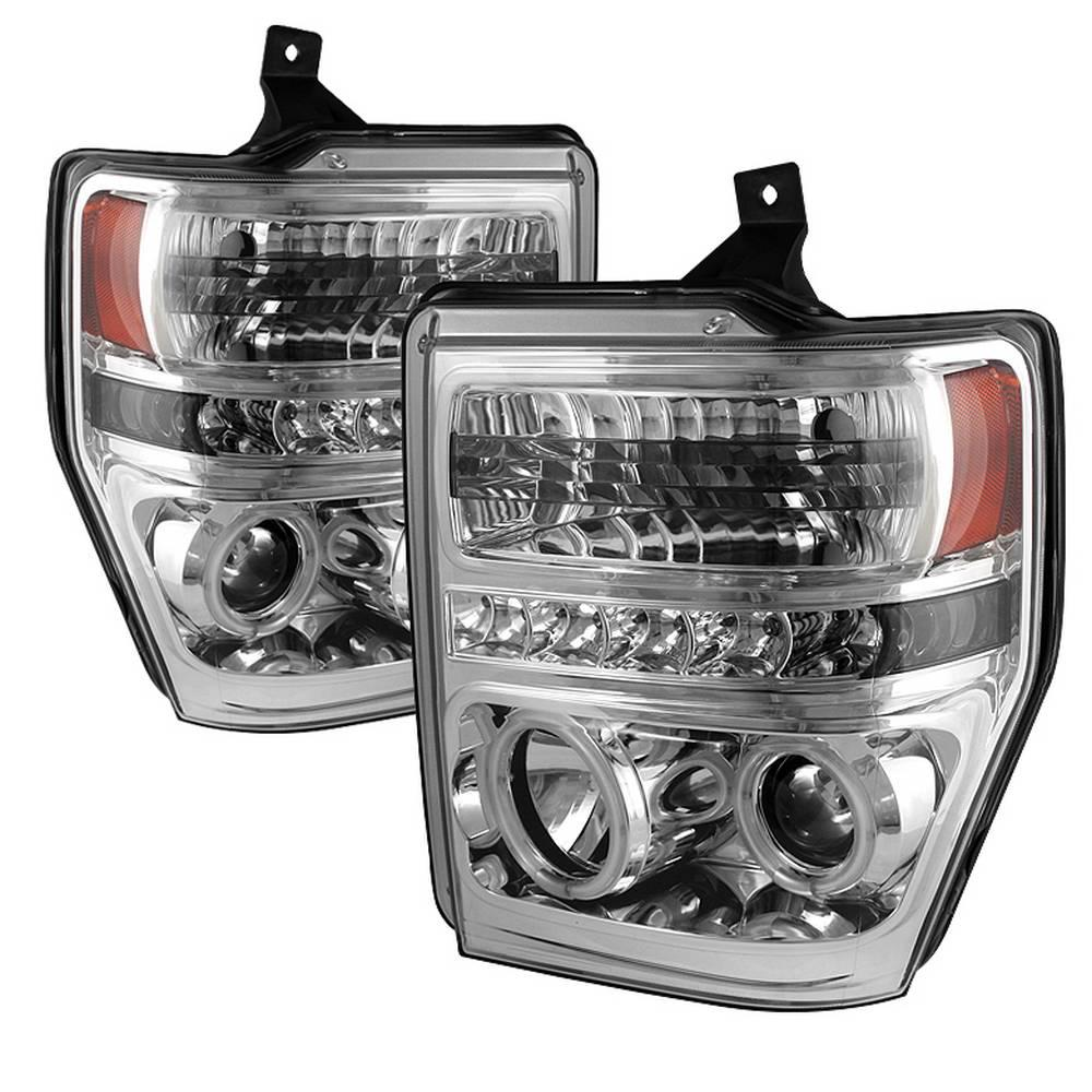 Spyder Auto Ford F250/350/450 Super Duty 08-10 Projector Headlights - CCFL  Halo - LED ( Replaceable LEDs ) - Chrome