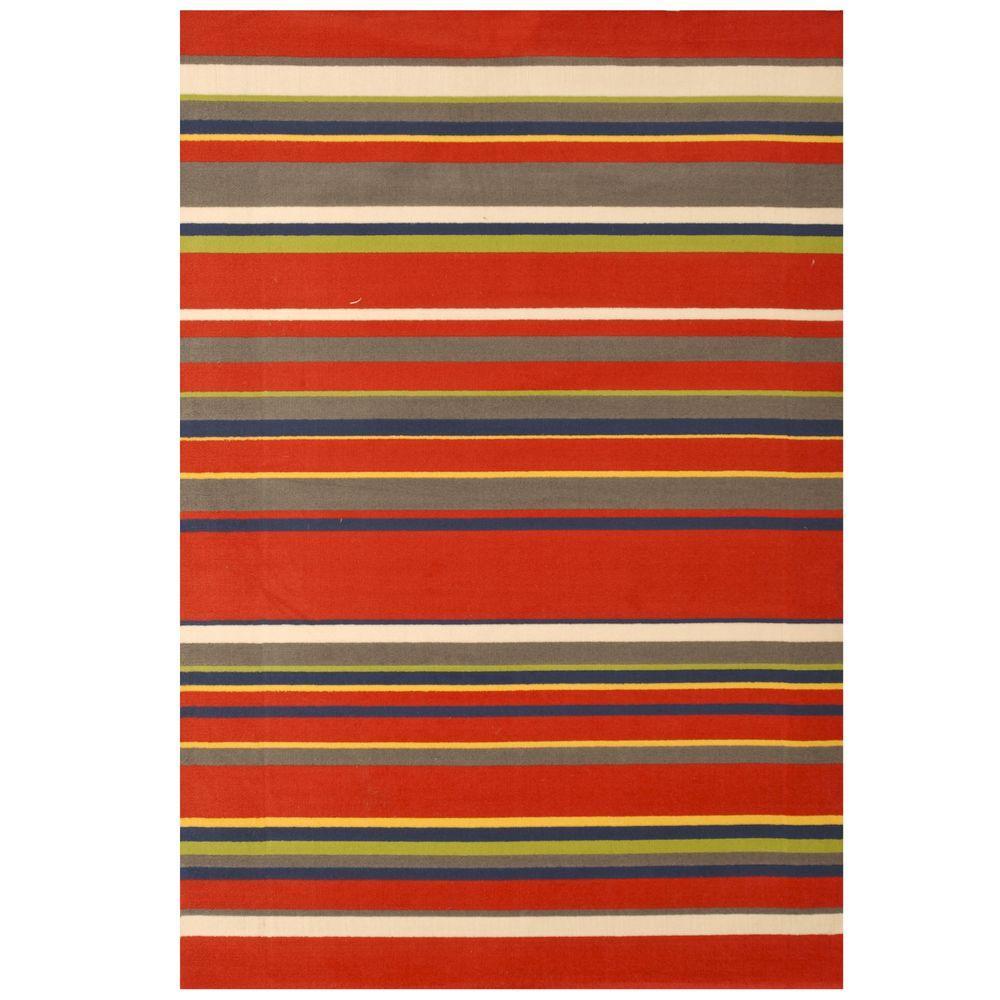 Sams International Jax Stripes Red 3 ft. 9 in. x 5 ft. 6 in. Area Rug