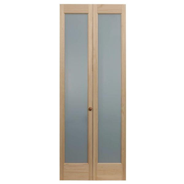 24 in. x 80 in. Full Frosted Glass Frost 1-Lite Pine Wood Interior Bi-Fold Door