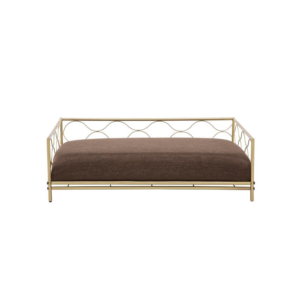 Sarina medium gold polyester pet bed